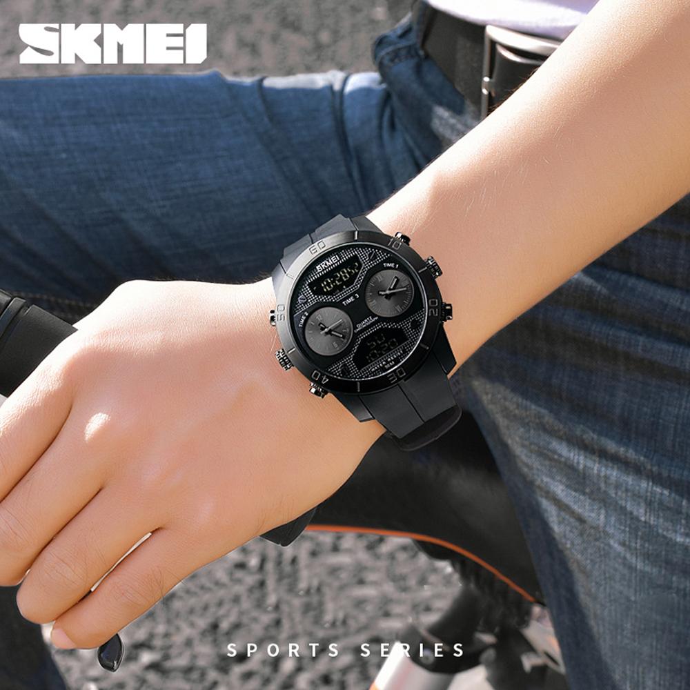Skmei 1355 3 Timezone Sports Chrono Watch - Black