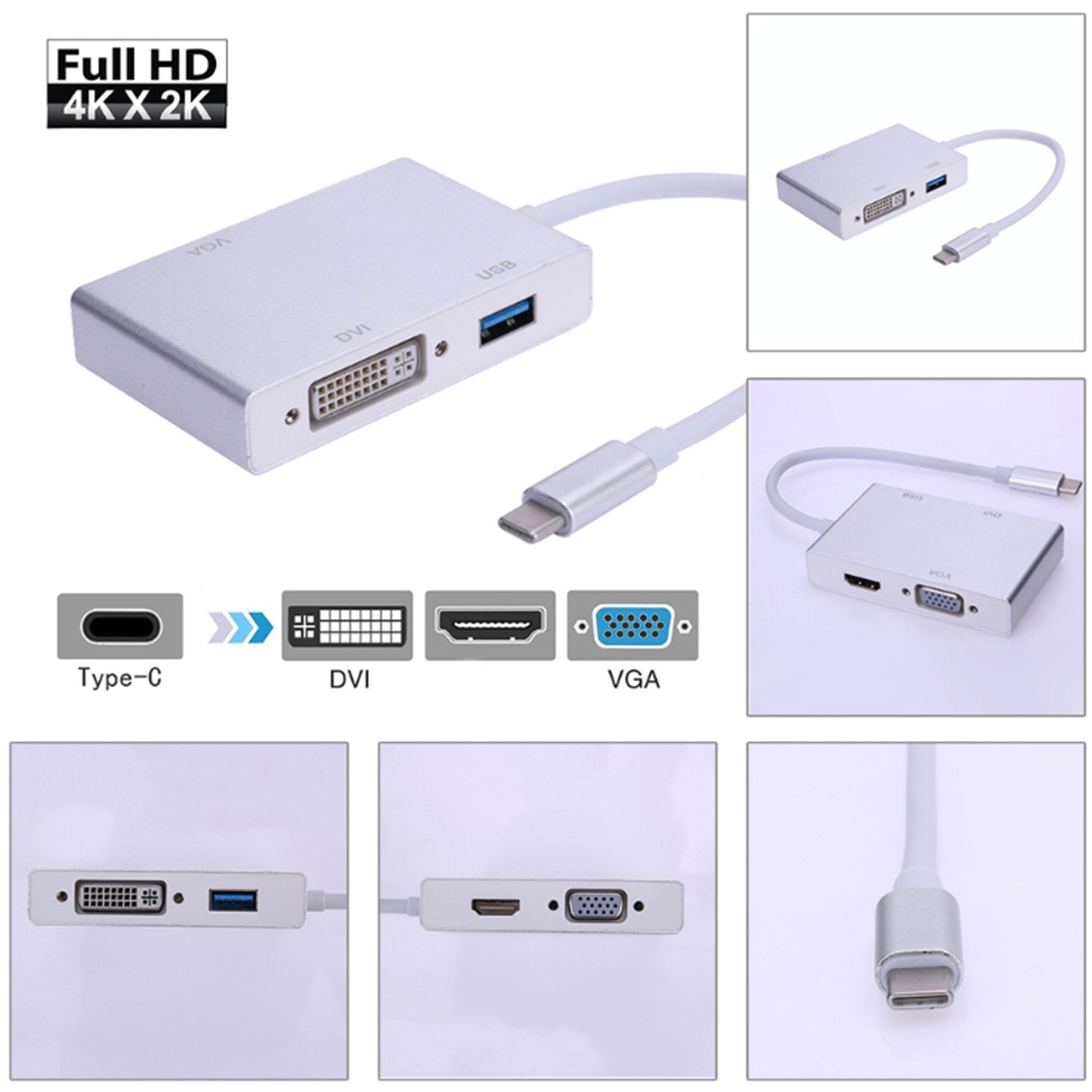 Type-C  To HDMI VGA  DVI  USB 3.0 Video Adapter - Silver