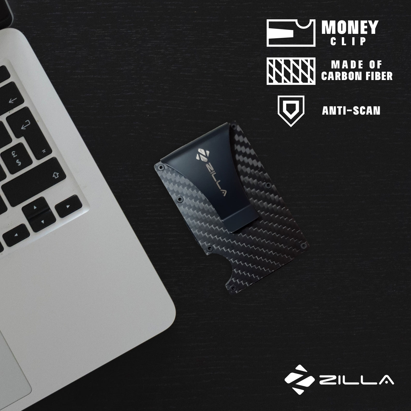 Zilla Carbon Fiber Card Holder Wallet With RFID Blocker - Black