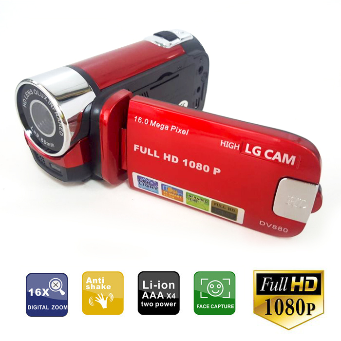 16mp HD Digital Video Camera Recorder - Red