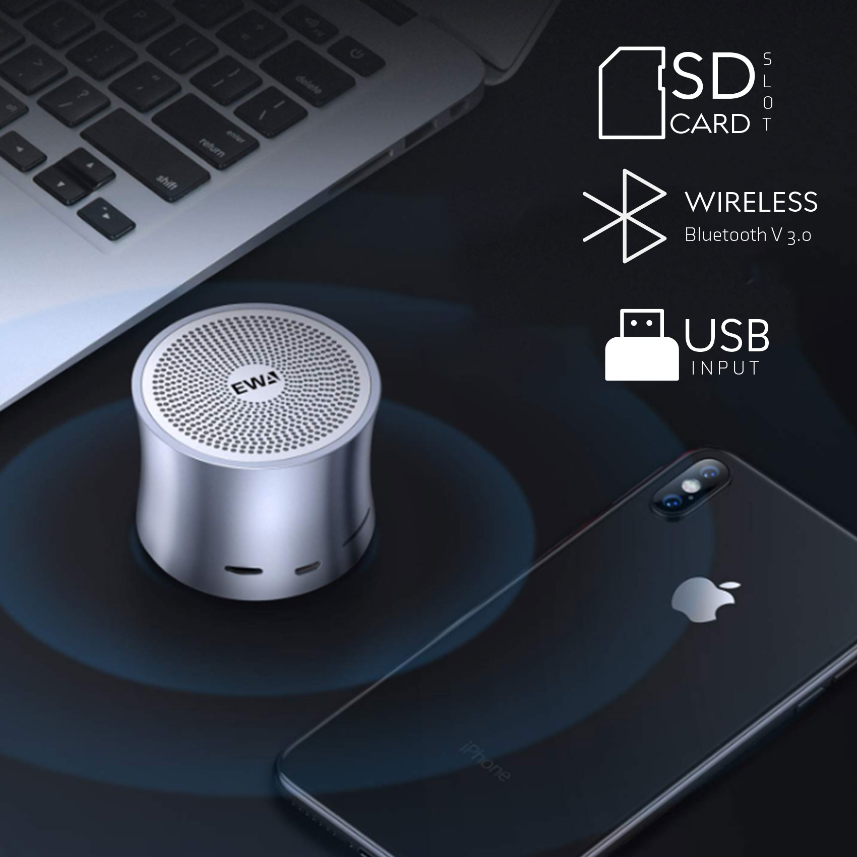 EWA Mini Bluetooth Exposed Speaker – Gray