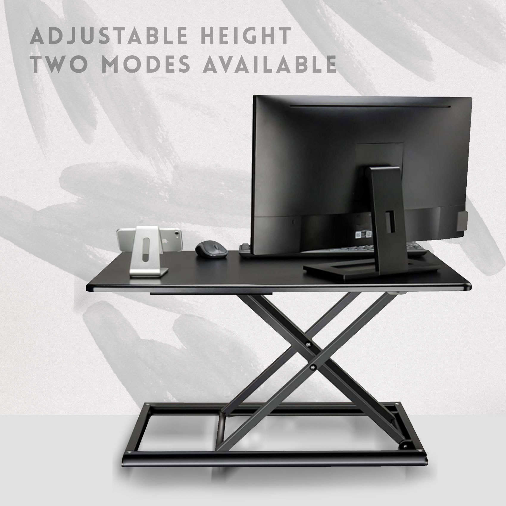Adjustable Sit Stand Work Desk – Black