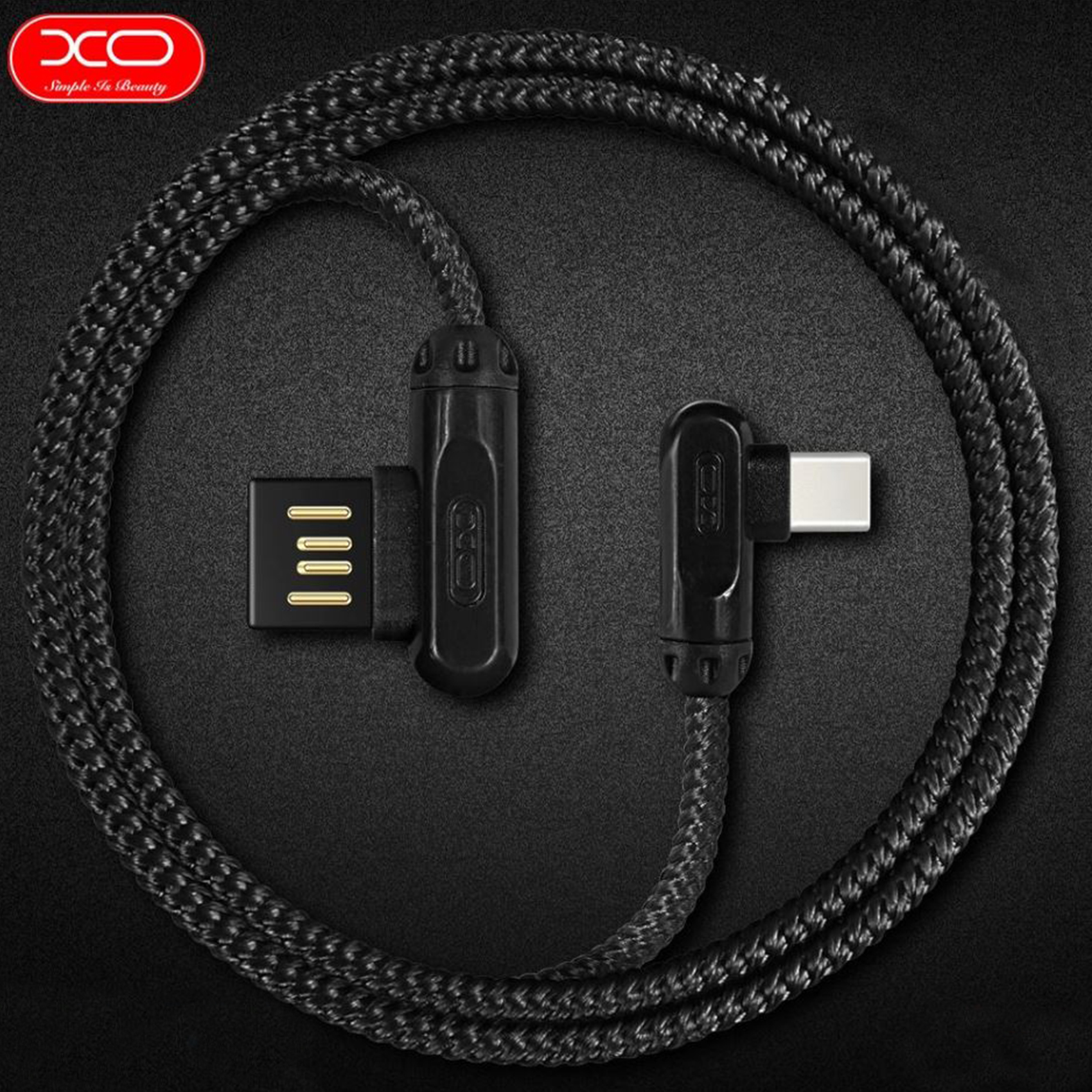 XO NB28 1 Meter 2.4A  Type–C Charging And  Data Cable – Black