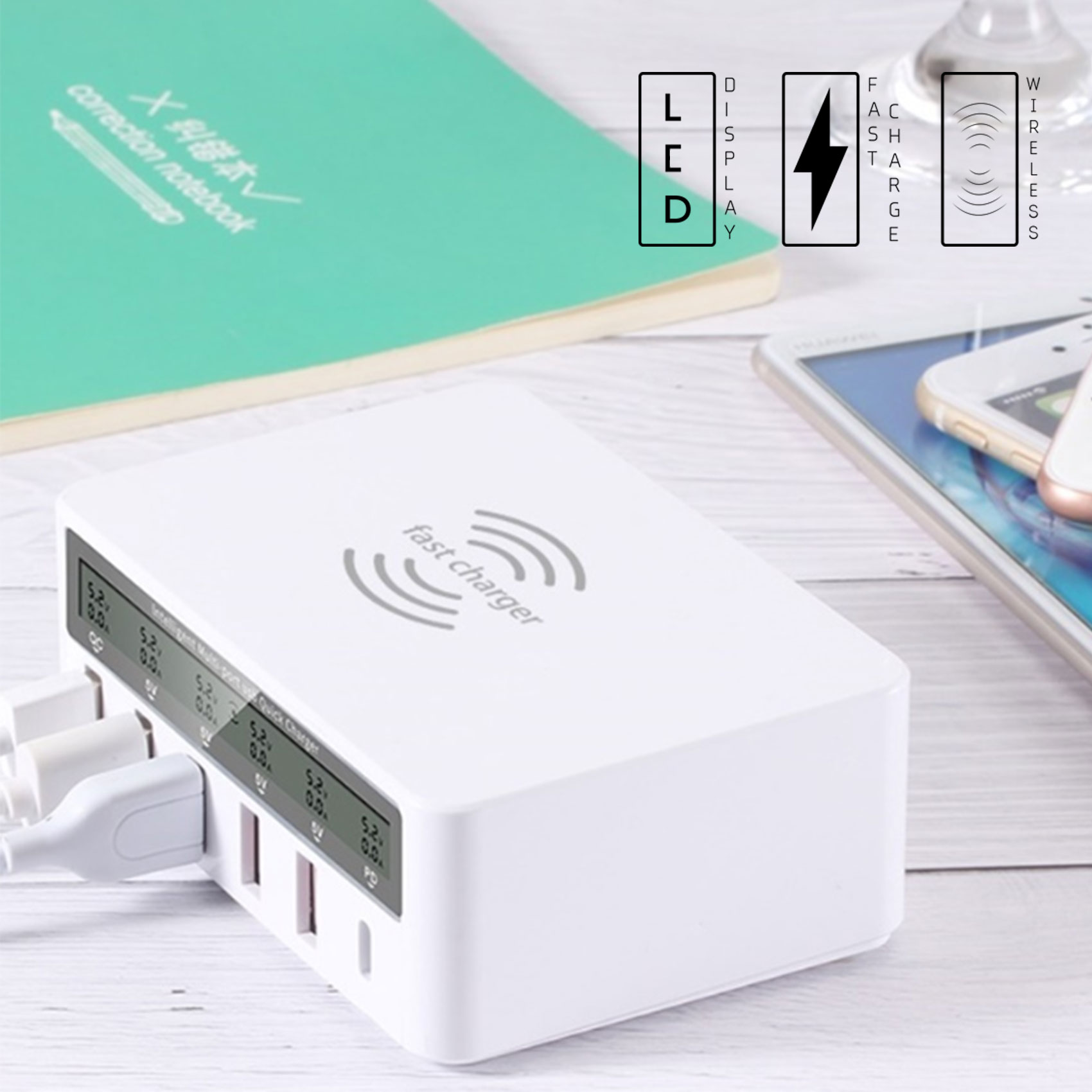 6 Port USB Charger With Qi Inductive Wireless Charger - White