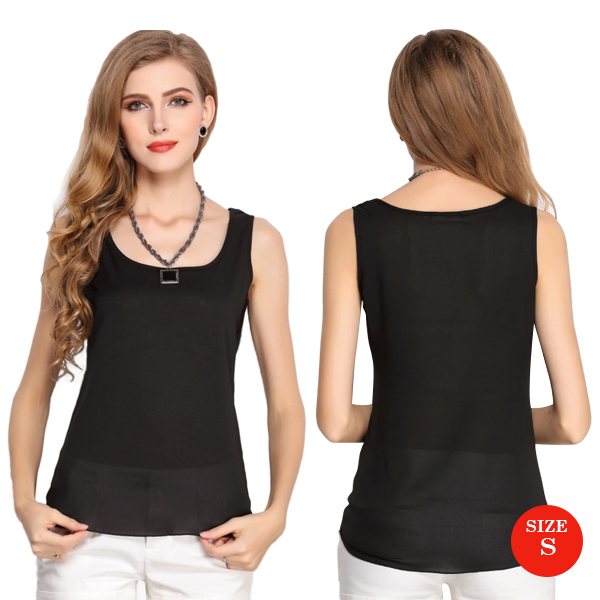 Liva Girl Casual Candy Sleeveless Blouse Small - Black