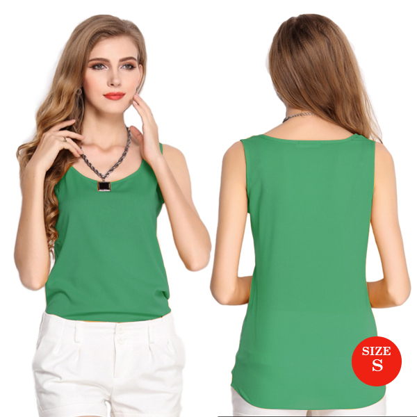 Liva Girl Casual Candy Sleeveless Blouse Small - Green