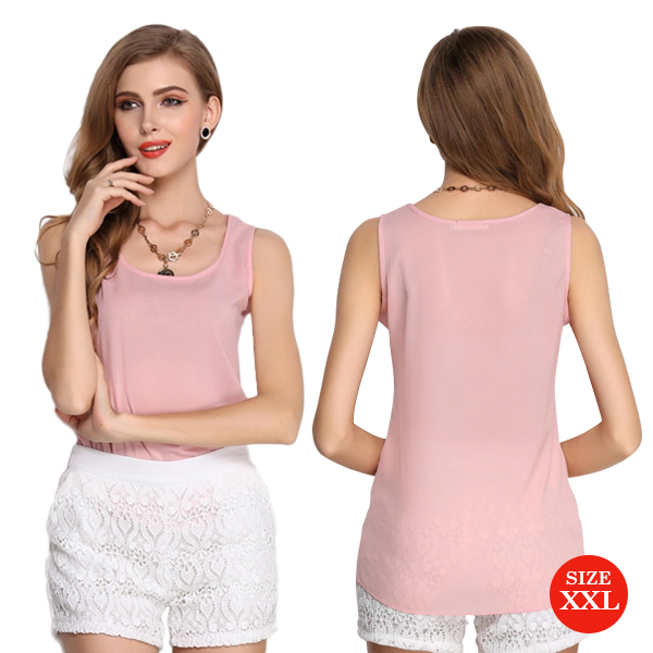 Liva Girl Casual Candy Sleeveless Blouse XXL - Pink