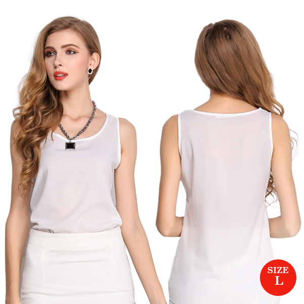 Liva Girl Casual Candy Sleeveless Blouse Large - White