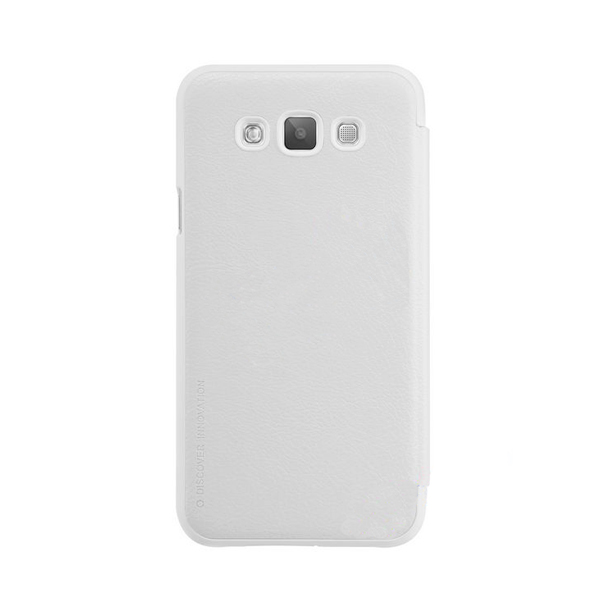 Samsung E7 Leather Case with Front Cover and Credit Card Slot - White