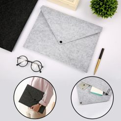 A4 Felt File Folder Bag Envelope - Grey