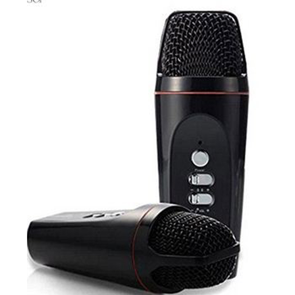 Portable Mini 3.5mm KTV Microphone Karaoke Player - Black