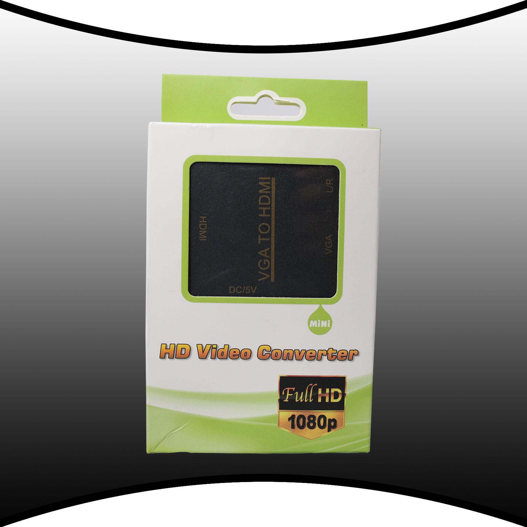 MINI VGAtoHDMI VGA And 3.5mm Audio To  HDMI Video Converter Box - Black