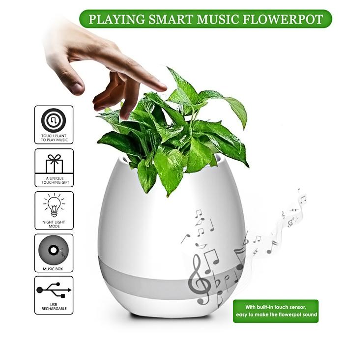 Smart Music Touch Sensitive Flower Pot Bluetooth Speaker - White