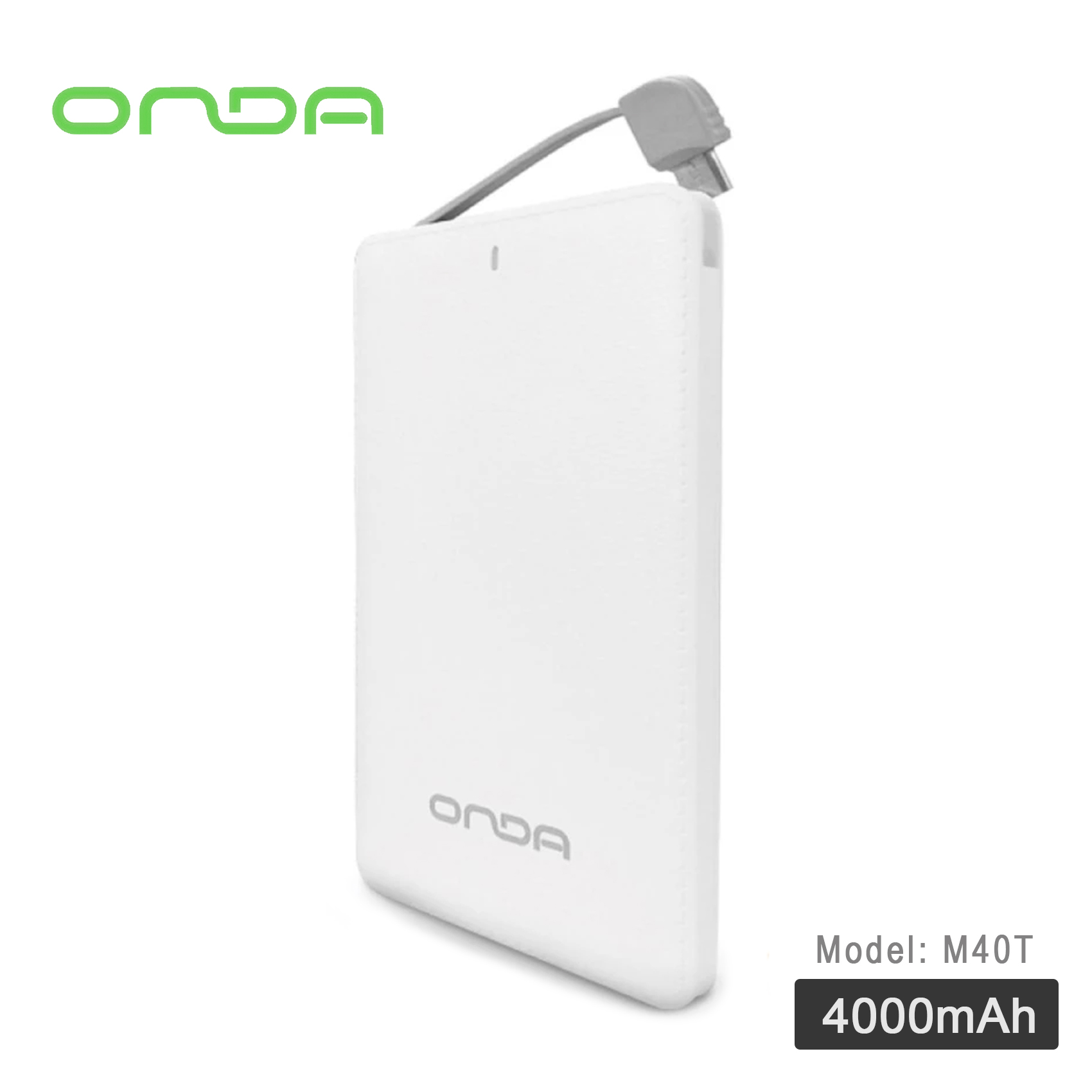 ONDA M40T 4000 mAh Power Bank With Lightning And Micro USB Adaptor - White