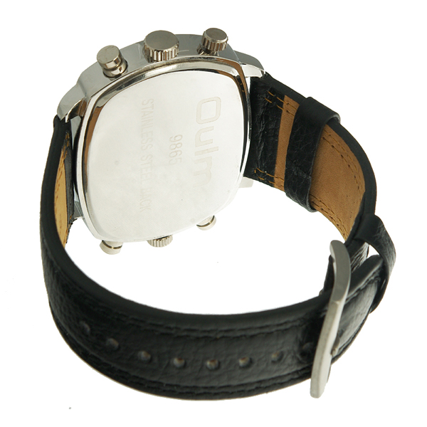 OULM Leather Sports Dual Time Zones Movements Quartz Watch - Black