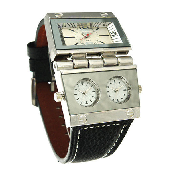 OULM Multi Dial Time Zone Luxury Leather Sport Quartz Watch - White