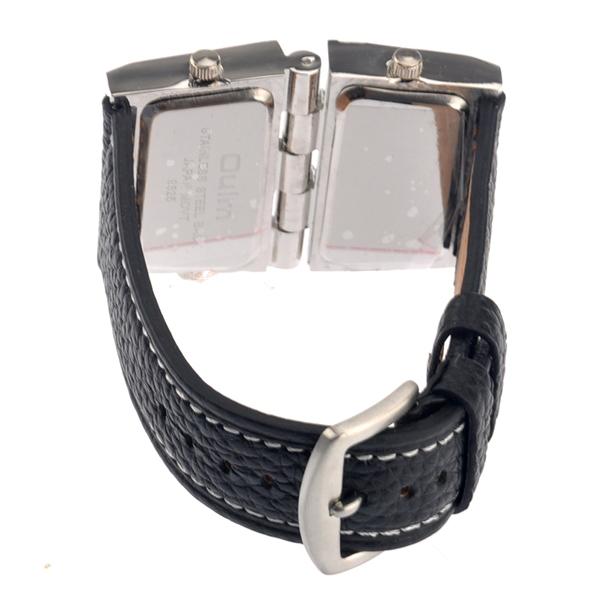 OULM Multi Dial Time Zone Luxury Leather Sport Quartz Watch - Black
