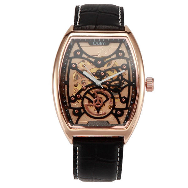 Oulm Mechanical Quartz Movement Leather Casual Watch - Gold