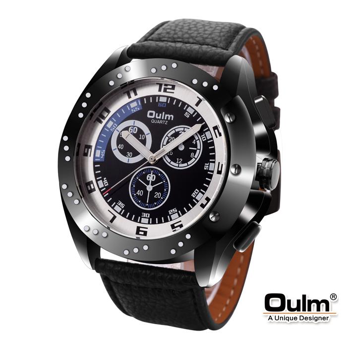 Oulm HP9964 Men's Quartz Round Dial Leather Watch - Blue