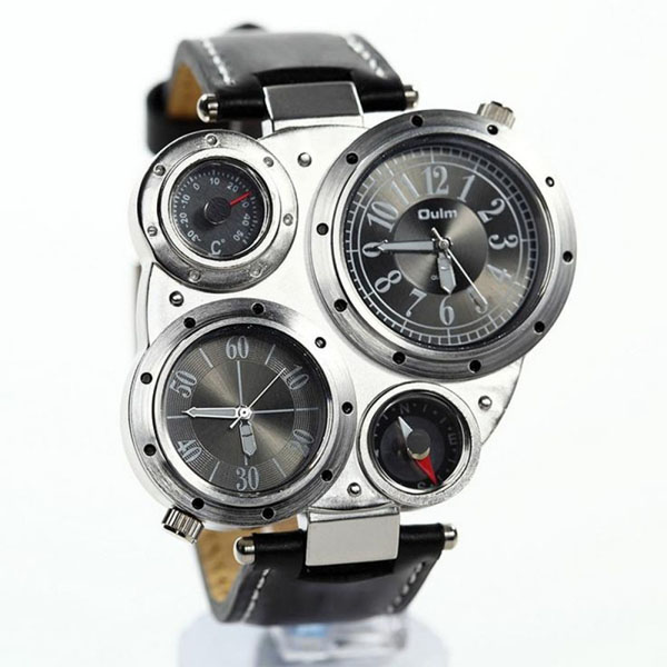 OULM Military Army Watch With Compass - Black