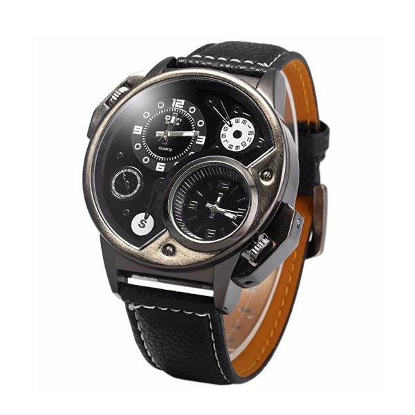 OULM Dual Time Watch 3578 - Black