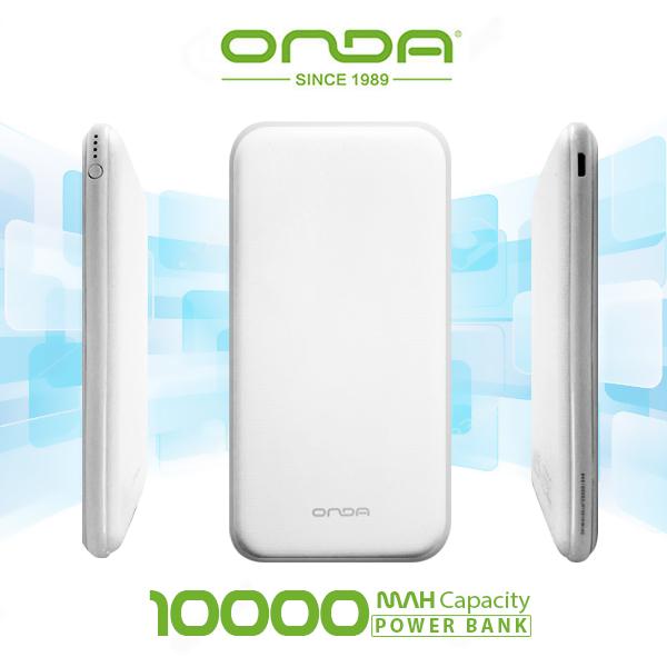 Onda N100T Plus Dual Port 10,000 Mah Powerbank With Lightning And Micro USB Charging Port - White