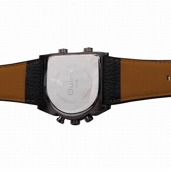 Oulm 3 Time Zone Sports Leather Military Army Watch - Black