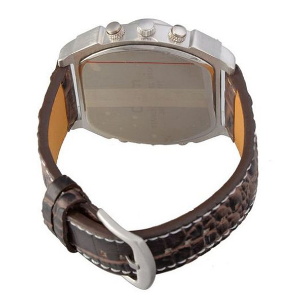 Oulm Analog Metal Bezel With Four Sub-Dials Watch - Brown