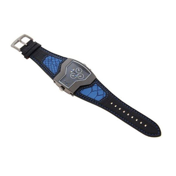 Oulm Military Men's Watch with Dual Movt Dial Leather - Blue