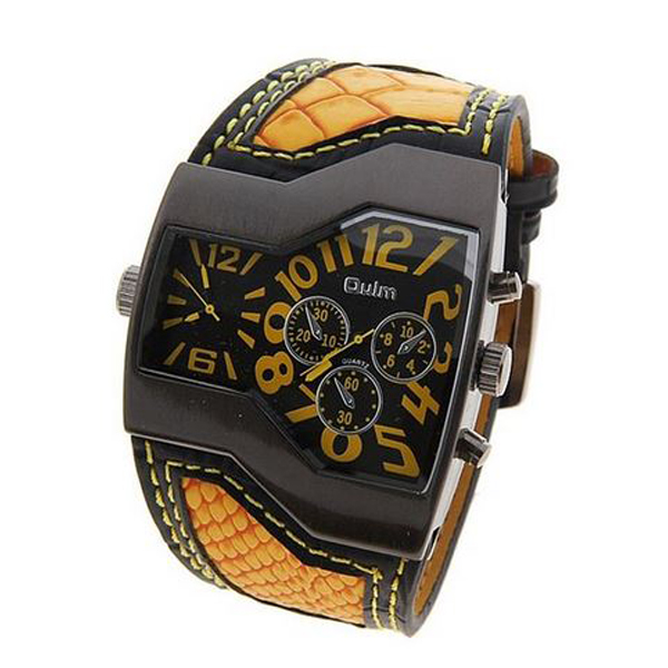 Oulm Military Men's Watch with Dual Movt Dial Leather - Yellow