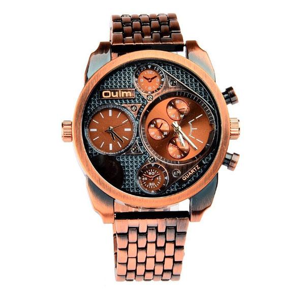 Oulm 2 Time Zones Military Quartz Alloy Wrist Watch - Bronze