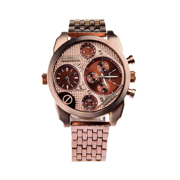 Oulm 2 Time Zones Military Quartz Alloy Wrist Watch - Brown