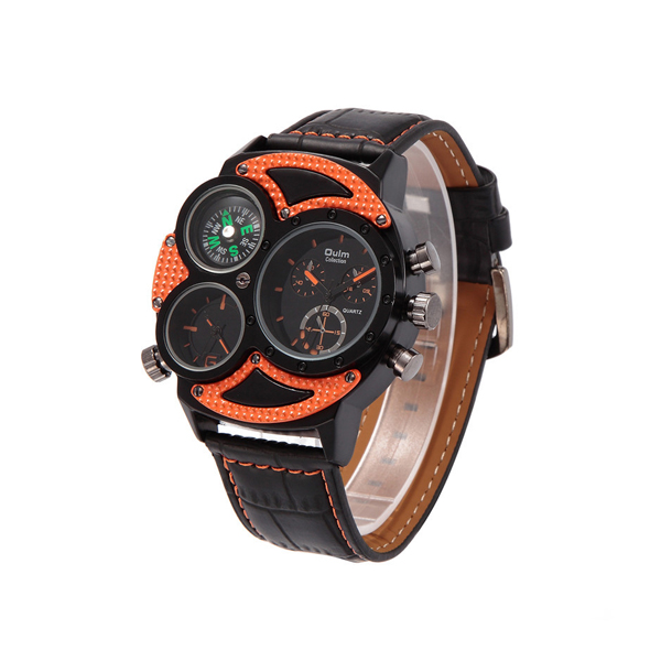Oulm 3 Time Zones Scratch Resist Watch 3594 - Orange