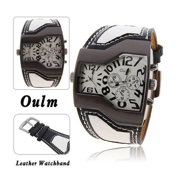 Oulm Military Men's Watch with Dual Movt Dial Leather - White
