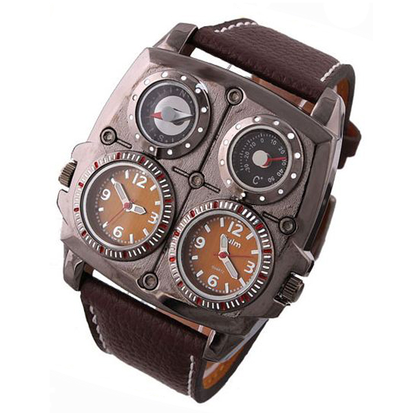 Oulm Square Oversize Multi Dial Time Zone Compass Watch - Brown