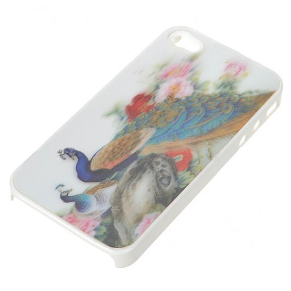 Peacock 3D Protective case for Iphone 4 /4s - White