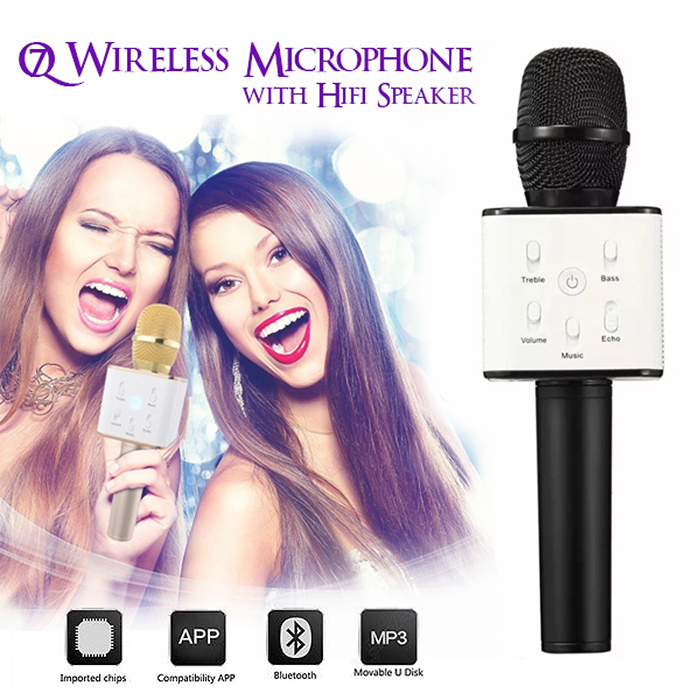 Bluetooth Microphone With HIFI Speaker For Smartphones And Media Box - Black