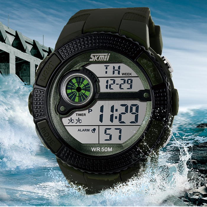 50M Waterproof Digital Chronograph Watch With Timer - Black