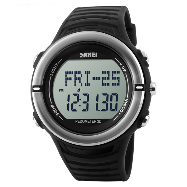 50M Waterproof Heart Rate Monitor Pulse Watch - Black