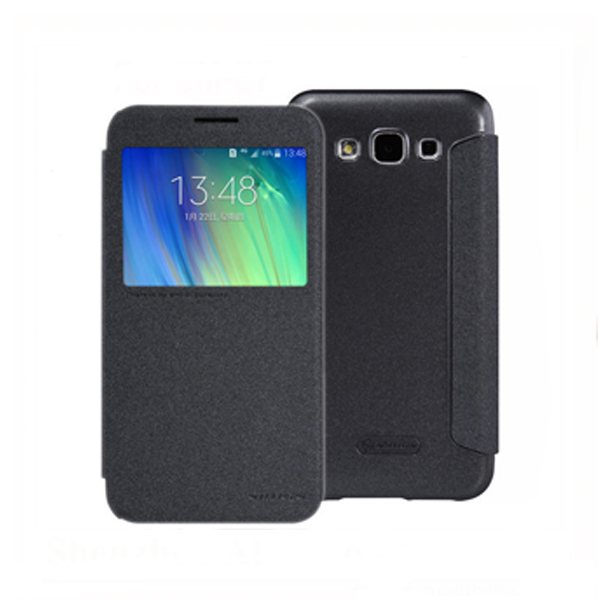 Samsung E7 Leather Case with Front Cover and Credit Card Slot - Black