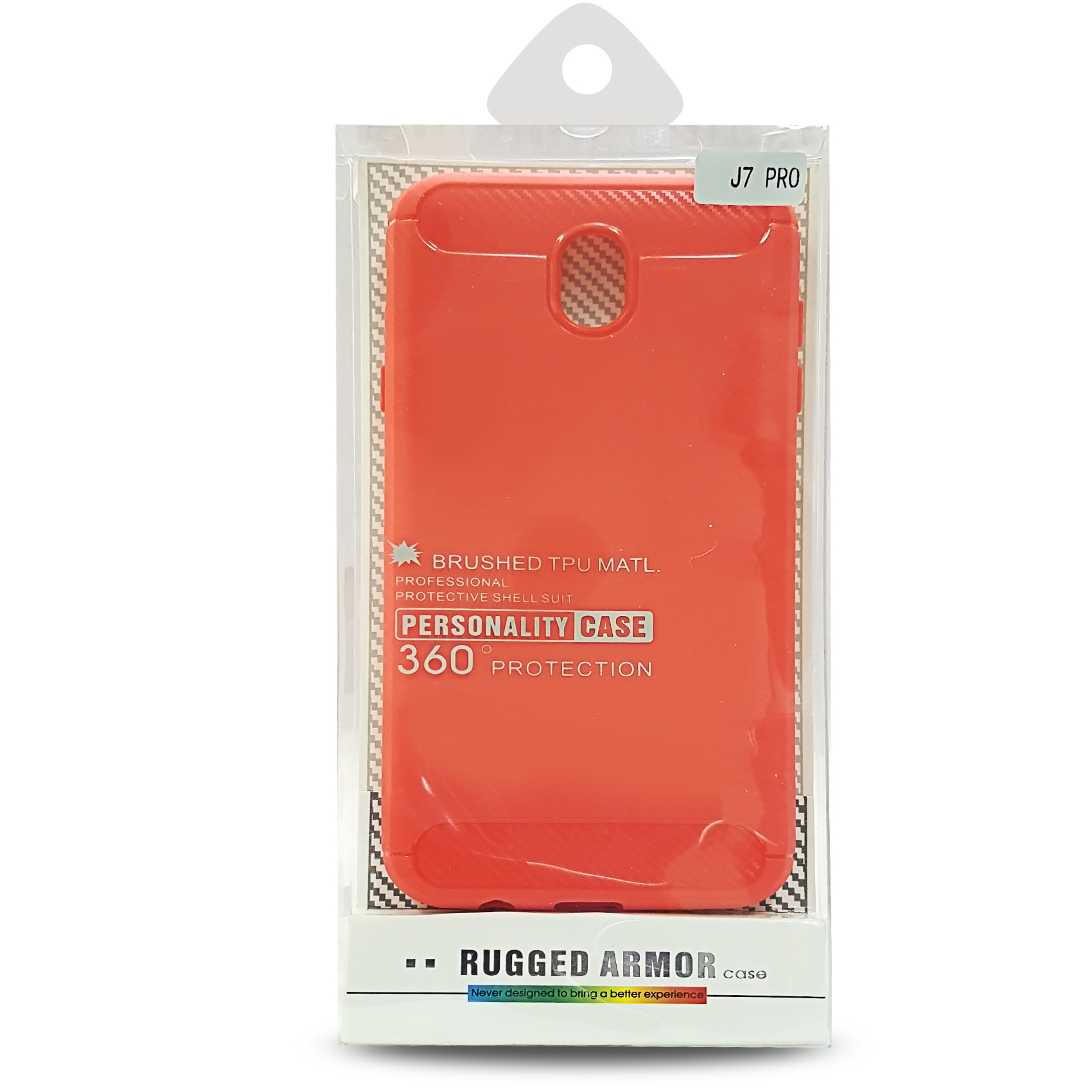 Rugged Armor Brushed TPU Case For Samsung J7 Pro - Red