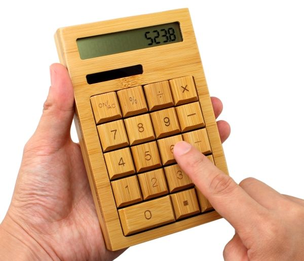Solar Powered  Natural Bamboo Calculator