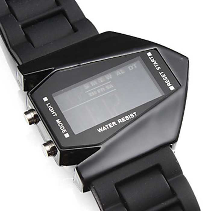 Sports Watch LED Stealth Aircraft with Silicone Strap - Black