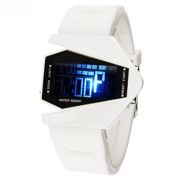 Sports Watch LED Stealth Aircraft with Silicone Strap - White