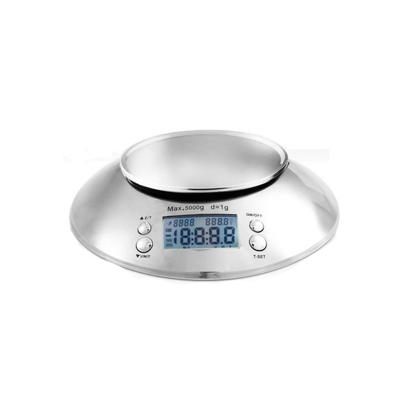 Stainless Kitchen Scale With Bowl 5000 Grams - Silver