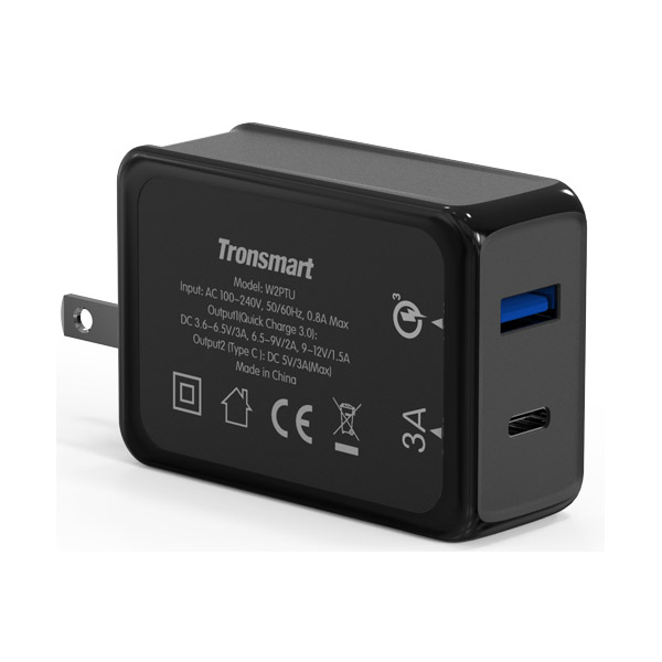 Tronsmart W2PTU 33W Two Port Two Port Type-C 3A And USB Quick Charge 3.0 Charger - Black