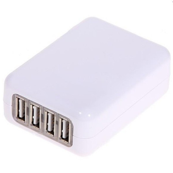 USB Compact 4 Port AC Power Adapter Wall Charger