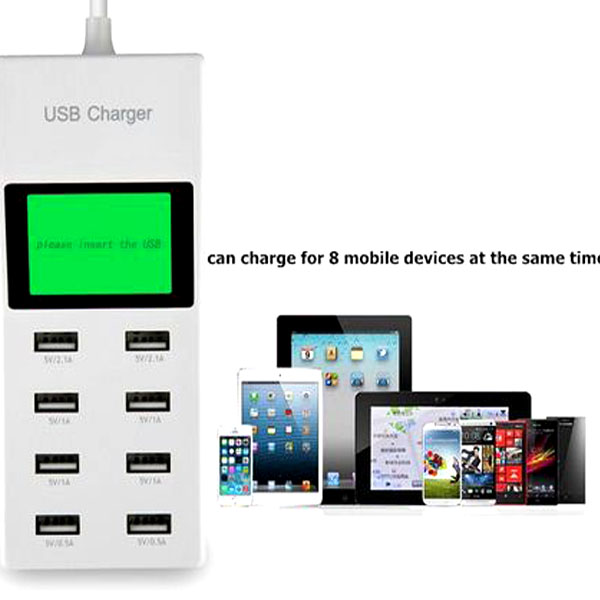 8 Ports 2.0A USB Power Adapter Desktop Charger- White