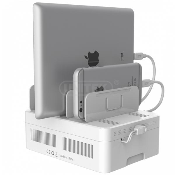Unitek Portable 60W 6 Port Smart Charging Station With Storage Box And Adjustable Bracket Stand - White