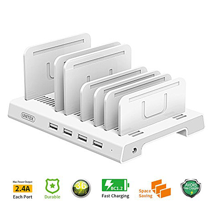 Unitek 36w 4 Port USB Smart Charging Station - White